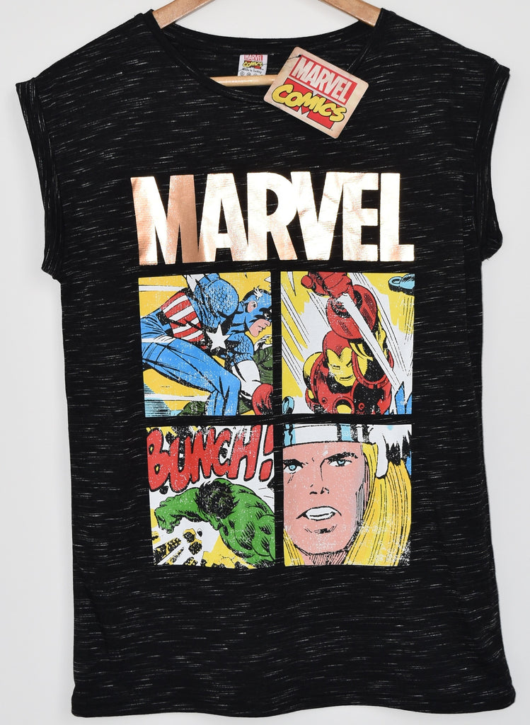 PRIMARK T SHIRT MARVEL GOLD LADIES DC COMICS STRIP UK SIZES 6 - 20