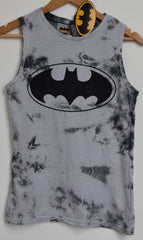Primark Batman T Shirt VEST DC Comics TIE DYE Grey Womens Ladies UK Size 12