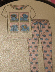 COOKIE MONSTER PJ SET SESAME STREET SELFIE PRIMARK PYJAMAS Sizes 6 to 8