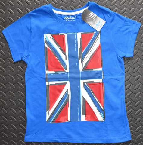 PRIMARK Boys British Flag Union Jack T-Shirt Blue Cartoon Effect Size 2 to 3 years