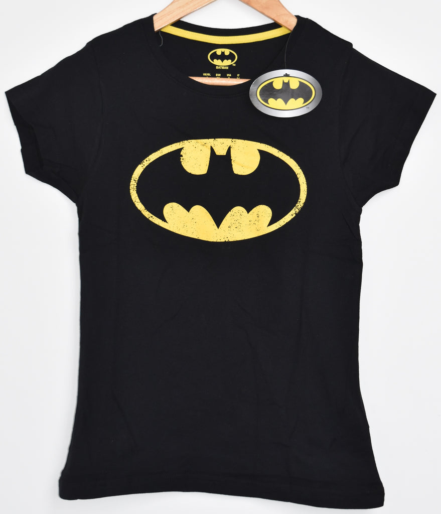 BATMAN Primark T Shirt BLACK YELLOW Womens Ladies UK Sizes 6-20