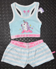 UNICORN PRIMARK Crop Vest & Shorts Set I BELIEVE PJ PYJAMAS 14 to 16