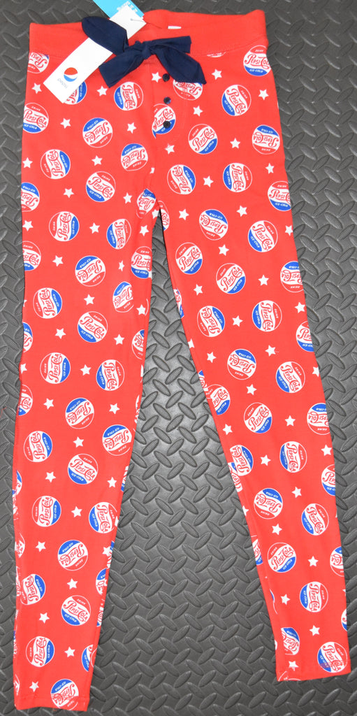 PEPSI COLA PJ BOTTOMS PRIMARK LEGGINGS Womens Ladies RED UK Size 4 to 20