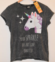 PRIMARK UNICORN T SHIRT SPARKLE UK SIZES 6 to 8 EMOJI EMOJICON
