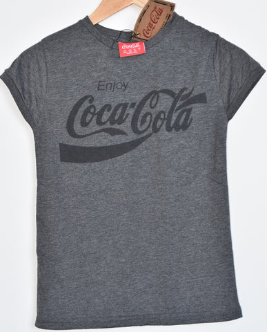 Primark COCA COLA T Shirt Womens Ladies CHARCOAL UK Sizes 4 to 6