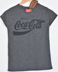Primark COCA COLA T Shirt Womens Ladies CHARCOAL UK Sizes 4-20 NEW