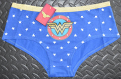 WONDER WOMAN KNICKERS BLUE STARS LADIES PANTIES SIZES 6-20