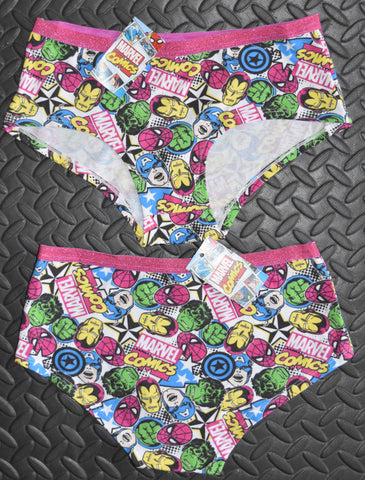 MARVEL COMIC KNICKERS Panties Glitter Pink WOMENS LADIES Size 6 - 20
