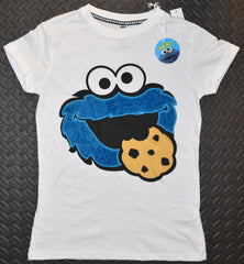 PRIMARK Cookie Monster PJ T-Shirt Fluffy Logo Sesame Street Sizes 6 to 8