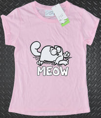 SIMONS CAT PRIMARK T-Shirt Top PINK MEOW Womens Ladies UK Sizes 4 - 16