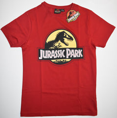 JURASSIC PARK T SHIRT MENS RED 25th Anniversary LOGO PRIMARK UK Sizes XS - XXL