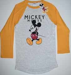 MICKEY MOUSE T Shirt RAGLAN Tee PRIMARK DISNEY Womens Ladies UK Size 4 to 16