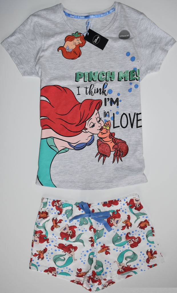 LITTLE MERMAID PJ SET T Shirt And Shorts Pyjama Disney Sizes 8 to 22