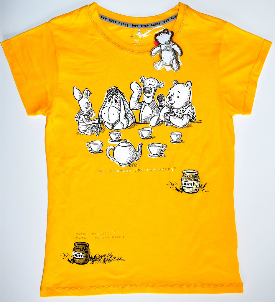 WINNIE THE POOH T SHIRT PRIMARK HUNNY DISNEY Womens 100% COTTON UK Sizes 4 to 20