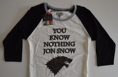 GAME OF THRONES PRIMARK T Shirt 100% COTTON RAGLAN Tee Ladies UK Size 4 to 16