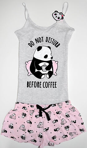 PANDA PRIMARK VEST AND SHORT PJ SET DISTURB COFFEE Womens Ladies UK Sizes 4 - 24