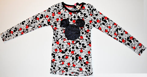 MICKEY MOUSE T SHIRT PRIMARK LONG SLEEVE DISNEY FRONT BACK PRINT UK SIZES 4 - 20