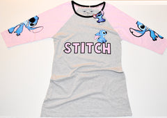 STITCH NIGHTIE PRIMARK DISNEY 3/4 SLEEVE LILO PINK GREY NIGHTSHIRT UK SIZES 4-20