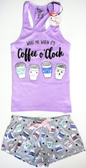 COFFEE PJ SET PRIMARK VEST Racer back T-Shirt Shorts Clock Ladies PYJAMAS UK Sizes 4 - 20