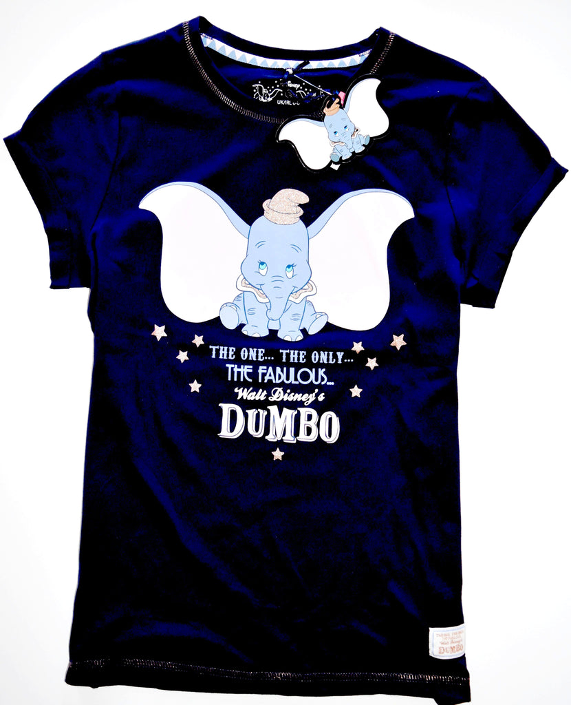 DUMBO PJ T SHIRT PRIMARK DISNEY Ladies 100% Cotton Navy Blue UK Sizes 4 - 20