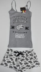 GAME OF THRONES PJ PRIMARK VEST HOUSE STARK T-Shirt Shorts Ladies UK Sizes 4-20