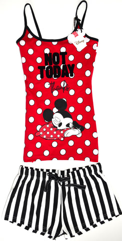 MICKEY MOUSE PRIMARK VEST SHORT PJ SET DISNEY Womens Not Today UK Sizes 4 to 20