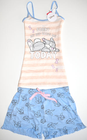 THUMPER PJ SET PRIMARK VEST T-Shirt Shorts BAMBI Ladies PYJAMAS UK Sizes 4 - 20