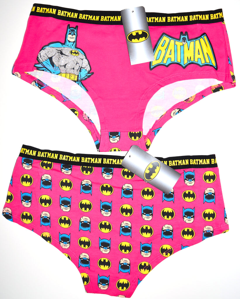 BATMAN KNICKERS PINK FRONT BACK PRINT GLITTER LOGO LADIES SIZES UK 6 to 20