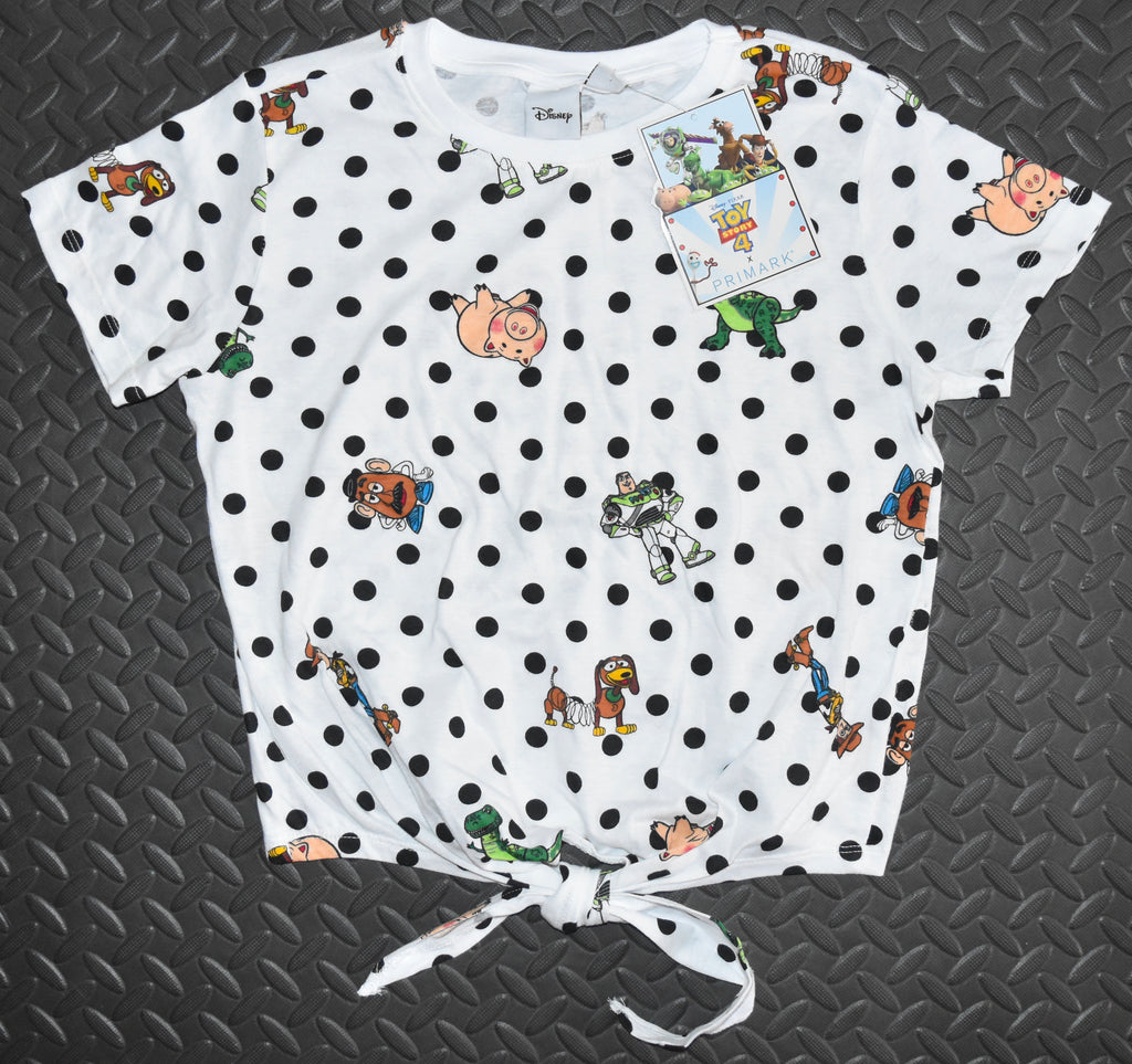 Toy Story T Shirt Tie Primark Disney Front Back Print ladies UK Sizes 18 to 20