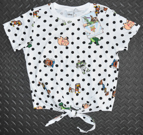 Toy Story T Shirt Tie Primark Disney Front Back Print ladies UK Sizes 6 to 20