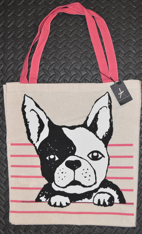 Primark French Bulldog TOTE SHOPPER SHOPPING SHOULDER BAG CANVAS Pink BNWT