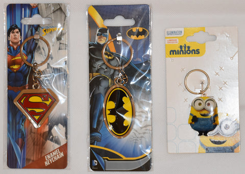 Batman Superman Minions Keychain Keyring Bob Enamel and Metal NEW with tags