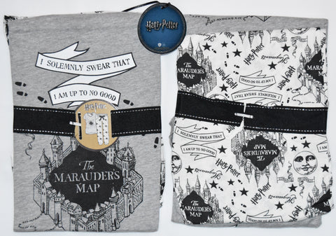 PRIMARK HARRY POTTER PJ Marauders Map Pyjamas Grey White UK Sizes 4 - 20 NEW