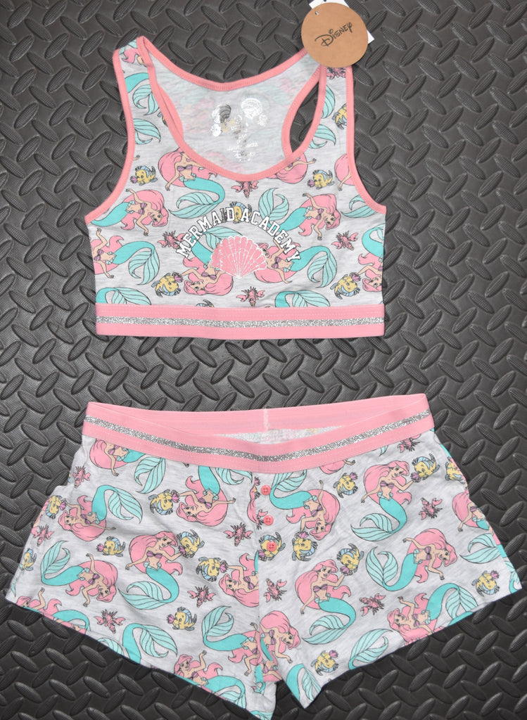 PRIMARK Disney Little Mermaid Crop Vest & Shorts Set PJ PYJAMAS Ariel 6 to 12
