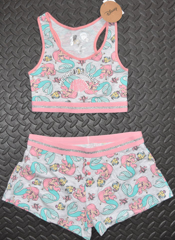 PRIMARK Disney Little Mermaid Crop Vest & Shorts Set PJ PYJAMAS Ariel 4 - 20 NEW