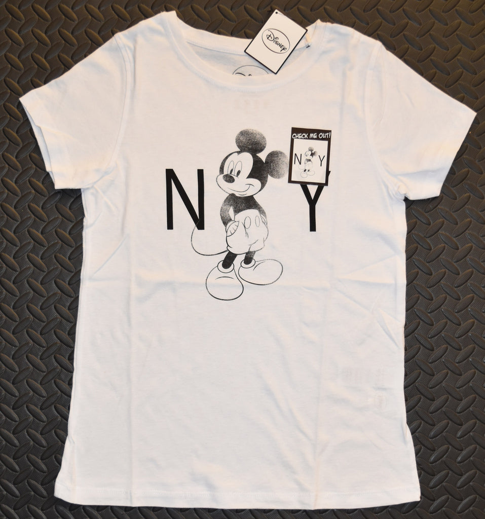 Mickey Mouse Primark T Shirt NY Disney Womens Ladies White Black Size 8 or 10