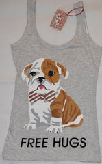 PRIMARK Free Hugs Pug Vest & Shorts PJ PYJAMAS Red White Bow UK Sizes 18 to 20