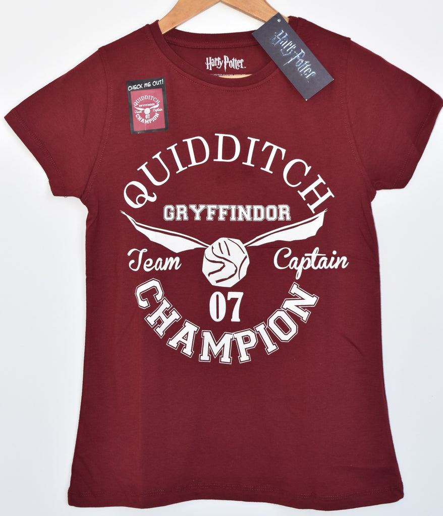 Primark Harry Potter T Shirt Gryffindor Quidditch Womens Ladies UK Size 4-20 NEW
