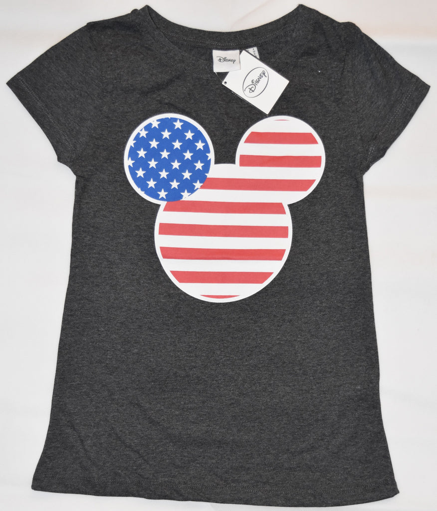 Primark Mickey Mouse T Shirt USA Flag Disney Womens Ladies GREY UK Size 4 to 6