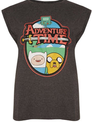 PRIMARK Adventure Time T SHIRT Cartoon Network OFFICIAL NEW UK Sizes 6-20 Grey