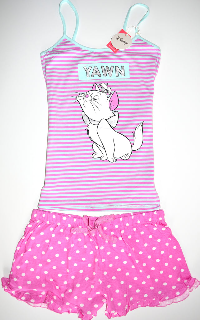 Aristocats PJ Set Disney Marie Pyjamas Primark Vest Shorts Womens UK 10 to 20