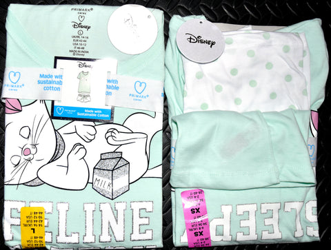 Aristocats PJ Set Disney Primark Marie Womens Ladies Pyjamas Pijamas UK 6 to 20