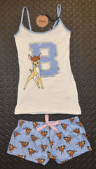PRIMARK Disney BAMBI Vest & Shorts Set PJ PYJAMAS Glitter Blue UK Size 4