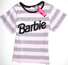 Barbie T Shirt Primark Grey Pink Stripe Ladies Womens Tee UK Sizes 10 to 20