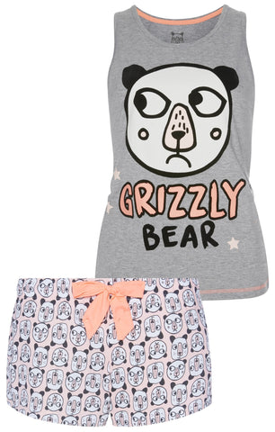 PRIMARK Grizzly Bear PJ Vest & Short Set PYJAMAS Sizes 6 - 20 NEW - Click. Buy. Love. - 1