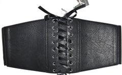 Sexy Corset Belt Lace Up Front Waist Elasticated Faux Leather Vegan