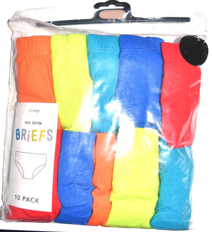 Boys Briefs George 10 Pack 100% Cotton Underwear Kids Pants Ages 18M to 10 Years