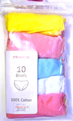 Girls Knickers Primark 10 Pairs 100% Cotton Teen Girls Briefs Age 18M to 12 Year