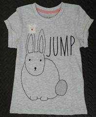 PRIMARK Girls T-SHIRT 'Jump' With Bunny Rabbit Logo Sizes 7 - 13 Years - Click. Buy. Love. - 1