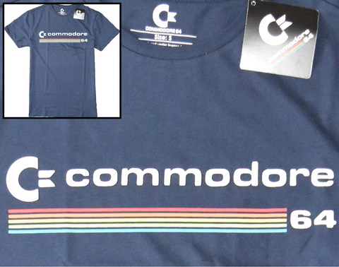 COMMODORE 64 Primark T Shirt Men's Gamer Navy UK Sizes S - XXL